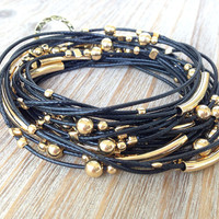 Black and Gold Cord Wrap Bracelet / Necklace