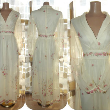 Vintage 70s Floral Ivory Sheer Chiffon Prairie Maxi Dress BOHO Hippie Wedding Gown M/L