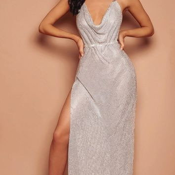 Remember Tonight Silver Rhinestone Diamanté Mesh Metallic Sleeveless Spaghetti Strap V Neck Backless Cut Out Slit Maxi Dress