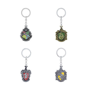 Classic Harry Keychains Potter Magic School Gryffindor Hufflepuff Ravenclaw Slytherin Key Chain Key Ring School Crest Car Key