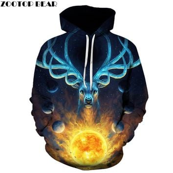 Magic deer Hooded Sweatshirts Men Women 3D Hoodies Printed Male Novelty Pullover Funny Cool Tracksuit Autumn Outwear