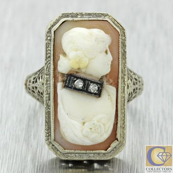 1930s Antique Art Deco 14k White Gold Filigree Diamond Shell Cameo Cocktail Ring