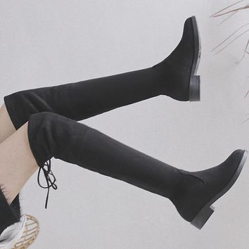 Black Suede Flat Over Knee Sock Boots