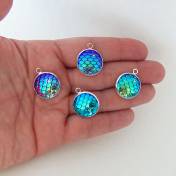 4 large mermaid scale charms, 16mm mermaid scale charm, mermaid scales, mermaid pendant, scale pendants, beach jewelry charms, shimmery, M78