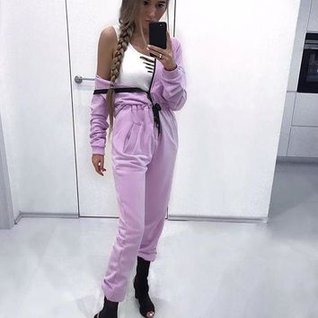 LMFCE6 Women's Fashion Long Sleeve Zippers One Piece Jumpsuit [72661893135]