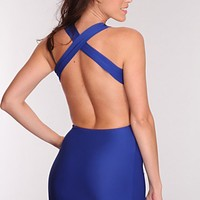 Royal Blue Black Sheer Mesh X Back Detail Sexy Dress