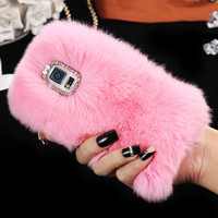 Rhinestone Bling Fluffy Rabbit Hair Winter Phone Case For Samsung Galaxy S5 I9600 S6 G9200 S6 Edge G9250 S6 Edge Plus Fur Cover