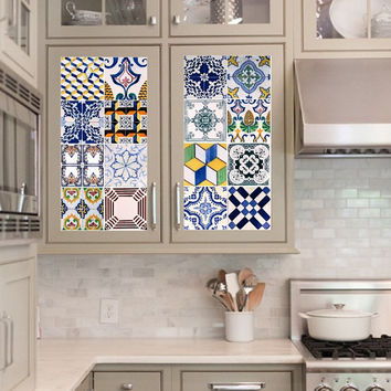 Vinyl decal sheet - Tile Decals - Tile decals for Kitchen or Bathroom Mexico, Morocco, Portugal, Spain, Mosaic #1