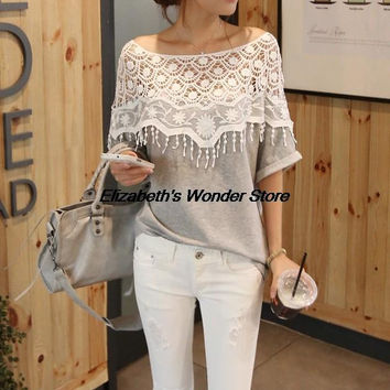 1pc Hot Newest Handmade Women Crochet Cape Collar Batwing Sleeve Tops T Shirt Hollow Out Lace Cutout Shirt