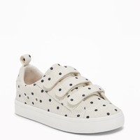 Linen Polka-Dot Secure-Strap Sneakers for Toddler Girls|old-navy