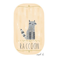 Raccoon - 6x4 print - Available in pink, peach, cream, green, teal & blue - Woodland creature childrens art