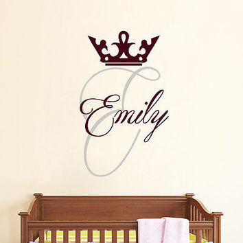 Girl Name Decal Personalized Nursery Wall Crown Decals Monogram Home Decor DS383