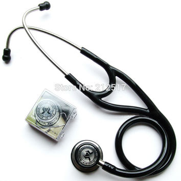 Leconte kt119 senior stainless steel double faced stethoscope Dual Head flat medical stethoscope with name tag and gift box