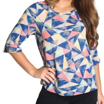 Everly Blue 3/4 Sleeve Geo Top