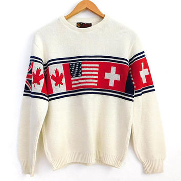Vintage 70s Ski Sweater - Size 38 Men's Pullover Jumper American Swiss Canadian Flag Ivory Red Blue Crewneck Sweater - Unisex 1970s Clothing