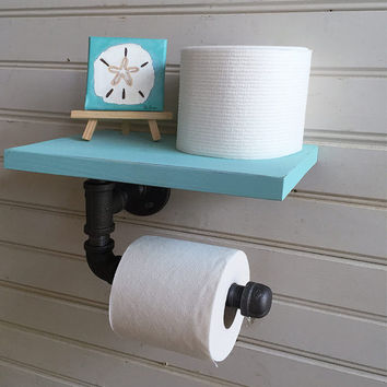 "Beach Decor Industrial Style iron pipe toilet paper holder with 10"" Shelf - Bathroom - industrial toilet paper holder - beach color shelf"