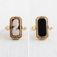 Antique 10K Yellow Gold Flip Ring - Vintage 1920s 1930s Carved Shell Cameo & Onyx Black Glass Double Sided Fine Jewelry