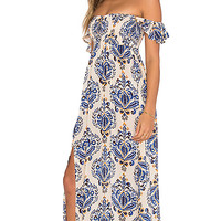 Hollie Off Shoulder Dress in River Cream & Blue