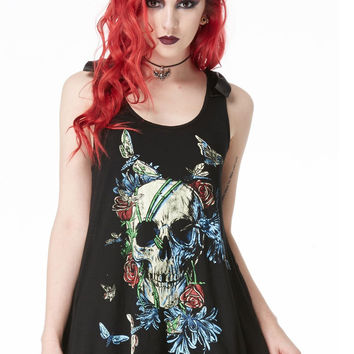 Gothic Love Skull Death - Skull with flowers and colorful moth Flare Tank Top