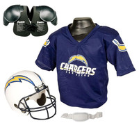 San Diego Chargers Youth NFL Helmet and Jersey SET with Shoulder Pads