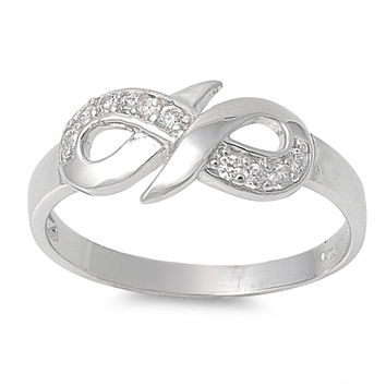 925 Sterling Silver CZ Evermore Infinity Ring 8MM