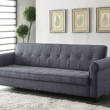Acme 57240 Aliza dark blue-gray linen fabric convertible sleeper sofa futon with storage