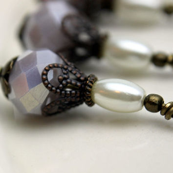 Vintage Style Opaque Gray Crystal Rondelle and Pearl Bead Dangle Drop Set