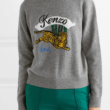 KENZO - Embroidered intarsia wool sweater