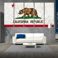 5 panel california flag Canvas wall art, extra large wall art, california republic flag wall art, california flag canvas print t438