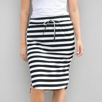 Womens Fashion Stripe Hight Waist  Maxi Mini Skirt