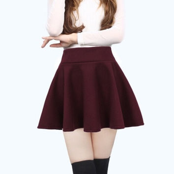Autumn and Winter  Princess Skirt Bottoming Female Waist Pleated Woolen Skirts Tutu Sun = 1753443524