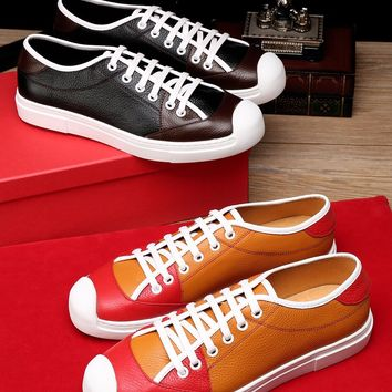 Salvatore Ferragamo Men's Casual Leather Sneakers Shoes