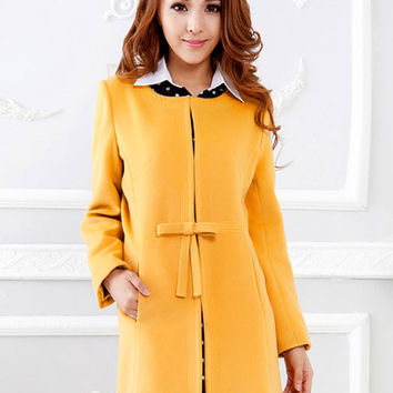 Round Neck Long Sleeve Thick Bow knot Woolen Coat