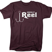 Shirts By Sarah Men's Funny Fishing T-Shirt Keepin' It Reel Hook Shirts