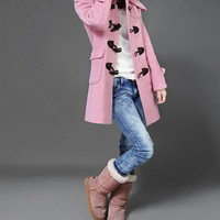 Tailored Jacket Wool Coat Hooded Long Jacket Autumn Coat Winter Outerwear OXhorn Button In Pink-WH024 M-3XL