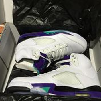 5fbc33de27628e Nike Air Jordan 5 Retro Grape White New Emerald-grape Ice-black