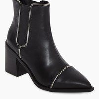 Danger I Zipper Calf Booties - Ebony Black