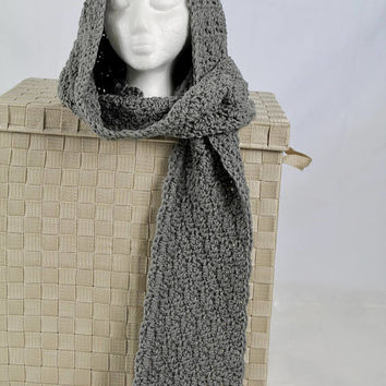 Handmade Hooded Scarf - Crochet Scarf -  Women or Teen - Gray - Shell Pattern Hoodie