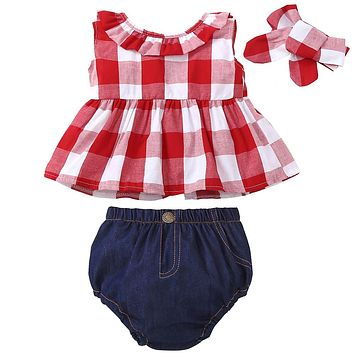 2018 Summer baby girl clothes set Red Lattice tops PP pants Headband 3pcs Newborn toddler Outfit Children girl Clothing Set