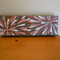 Painting Flower Vermillion and Coral Aboriginal Inspired by Acires