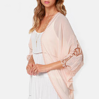 Bonbon Betty Blush Lace Kimono Top