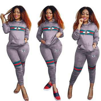 GUCCI Bee Women Casual Fashion Top Sweater Hoodie Pants Trousers Set Two-Piece