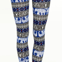 Elephant Leggings Tribal Yoga Pants Women's Ethnic Print Leggings Fitness Workout Beach Pants Spandex Tights Women Clothing Fashion