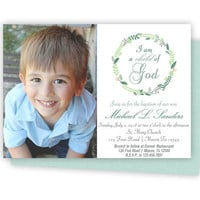 Photo Baptism Invitation Boy - Child of God Invitations - Spring Laurel Wreath - Boy Baptism Invite - Picture Baptism Invitations Green