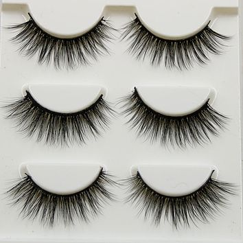 Pure Hand Cotton Thread False Eyelashes Messy Soft Natural Thick Fake Eyelashes 3D Three Dimensional Makeup Tools Eyelashes