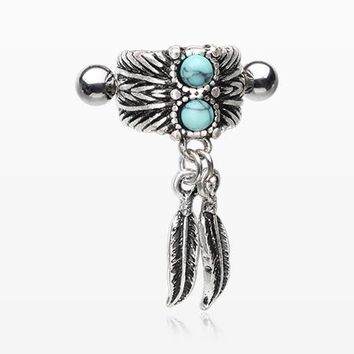 Vintage Feather Turquoise Cartilage Cuff Earring