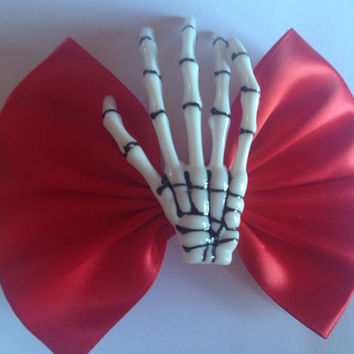 Skeleton Hand Hair Bow Skull Creepy Cute Goth Gothic Emo