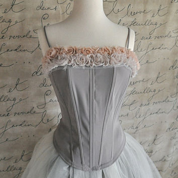 Boned bodice Ballerina look with two toned blossom by TutusChic