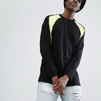 ASOS Long Sleeve T-Shirt With Contrast Neon Colour Block at asos.com