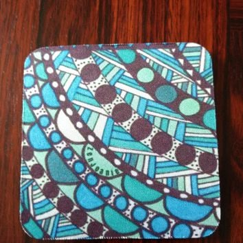 "Zentangle Coasters - Fun Drinking Coasters - Set of Artistic Coasters hand drawn by ZenJoanie - ""Connect the Dots"""